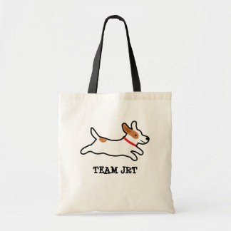 Jack Russell Terrier Cartoon Dog with Custom Text Tote Bag