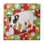 Jack Russell Terrier Christmas Snowflakes Small Square Tile