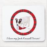 Jack Russell Terrier Christmas Tartan Mouse Mats