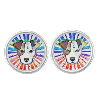 Jack Russell Terrier Colorful Pop Art Portrait Cufflinks