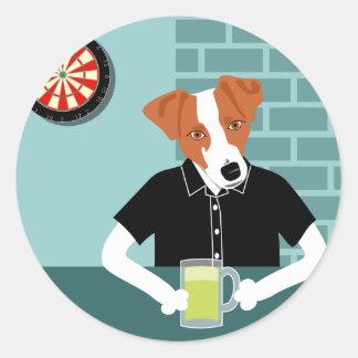 Jack Russell Terrier Dartboard Beer Bar Sticker