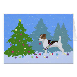 Jack Russell Terrier Decorating Christmas Tree Card