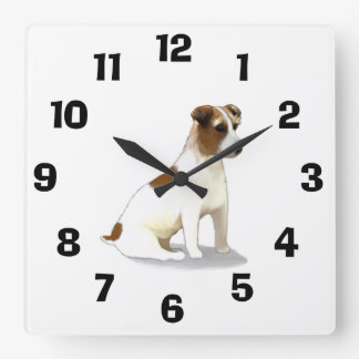 Jack Russell Terrier Dog Sitting Square Wall Clock