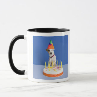 Jack Russell Terrier dog wearing party hat Mug