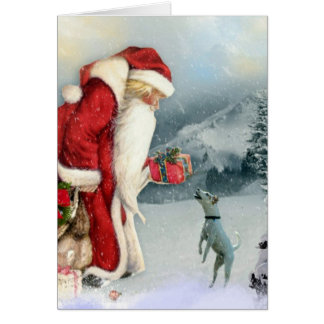 Jack Russell Terrier &  Father Christmas Card