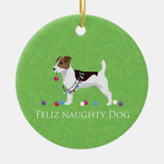 Jack Russell Terrier Feliz Naughty Dog Christmas Christmas Ornament