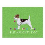 Jack Russell Terrier Feliz Naughty Dog Christmas Postcard