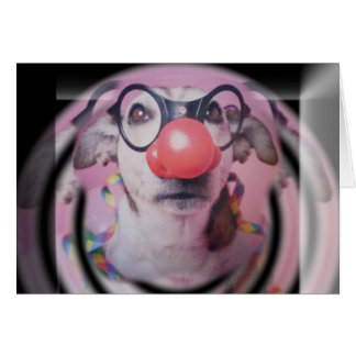 Jack Russell Terrier Happy Birthday Crazy Clown Greeting Card