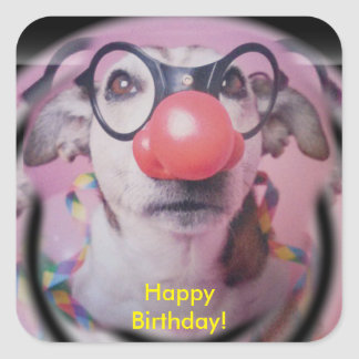 Jack Russell Terrier Happy Birthday Crazy Clown Square Sticker