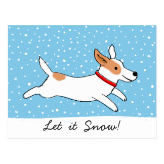 Jack Russell Terrier - Happy Snow Dog Holiday Postcard