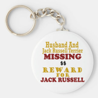 Jack Russell Terrier & Husband Missing Reward For Basic Round Button Key Ring