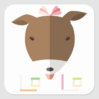 Jack russell terrier Lolo-origami Square Sticker