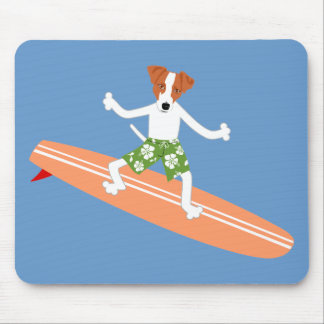 Jack Russell Terrier Longboard Surfer Mouse Pads