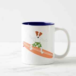 Jack Russell Terrier Longboard Surfer Coffee Mug