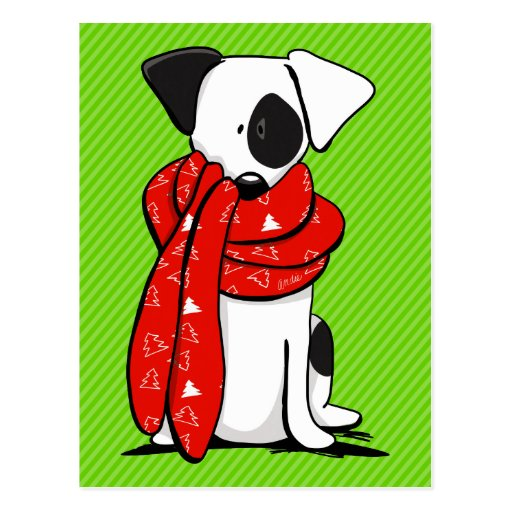 Jack Russell Terrier Modern Red Scarf Postcards