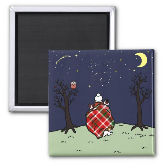 Jack Russell Terrier Mum and Starry Sky Magnet