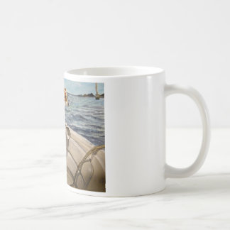 Jack Russell Terrier on boat Coffee Mug