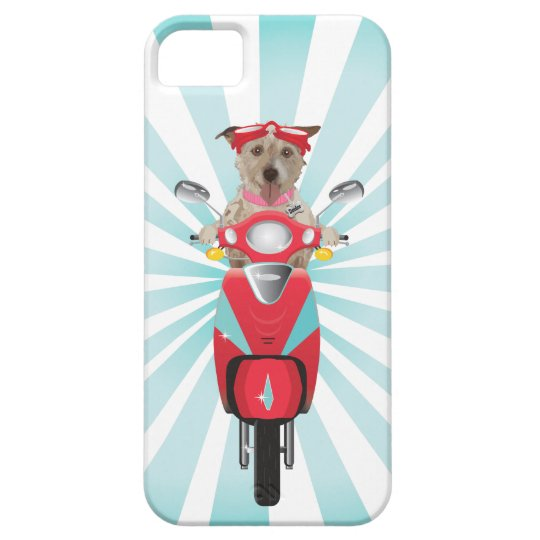 Jack Russell Terrier on Red Moped Barely There iPhone 5 Case