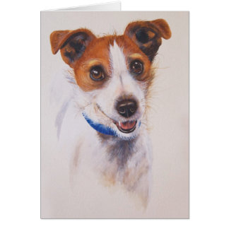 Jack Russell Terrier Painted in Watercolour Card