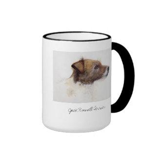 Jack Russell Terrier Painted in Watercolour Ringer Mug