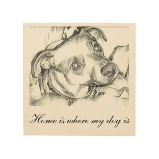 Jack Russell terrier pencil sketch with quote Wood Print