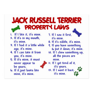 JACK RUSSELL TERRIER Property Laws 2 Postcard