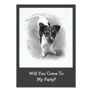 Jack Russell Terrier Puppy in Pencil: Dog, Cute 13 Cm X 18 Cm Invitation Card