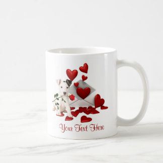 Jack Russell Terrier Red Rose Valentine Design Coffee Mug