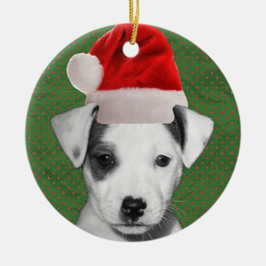 Jack Russell Terrier Santa puppy Christmas Ornament