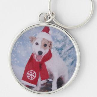 Jack Russell Terrier - santa's helper Key Ring