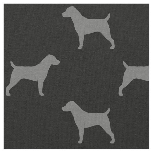 Jack Russell Terrier Silhouettes Pattern Fabric