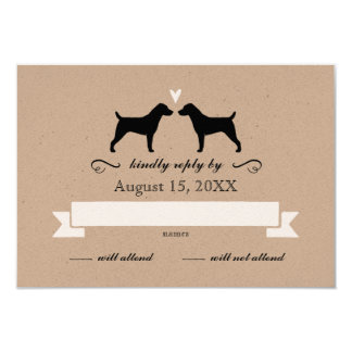 Jack Russell Terrier Silhouettes Wedding RSVP Card