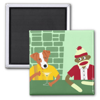 Jack Russell Terrier & Sock Monkey Square Magnet