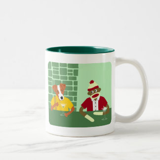 Jack Russell Terrier & Sock Monkey Two-Tone Coffee Mug