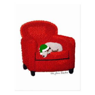 Jack Russell Terrier w/ Santa Hat Holiday Postcard
