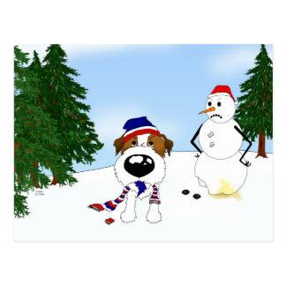 Jack Russell Terrier Winter Scene Postcard