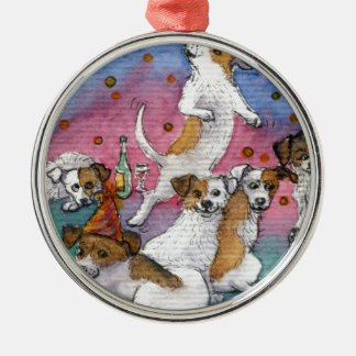 Jack Russell Terriers at a party Christmas Ornament