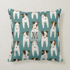 Jack Russell Terriers variety pattern monogrammed Cushion