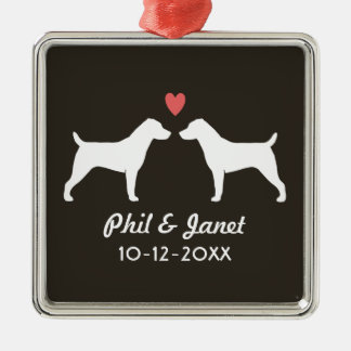 Jack Russell Terriers with Heart and Text Christmas Ornament