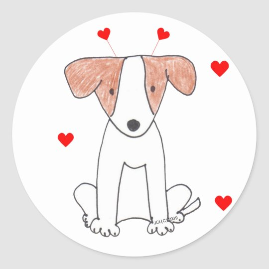 Jack Russell Valentine Ears Classic Round Sticker