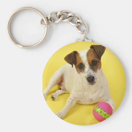 Jack Russell With Ball Basic Round Button Key Ring