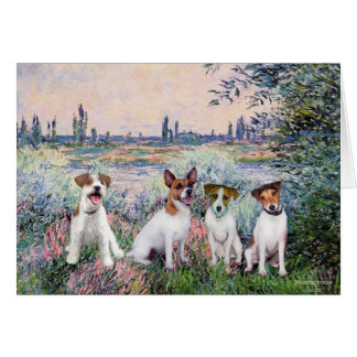 Jack Russells (four) - By the Seine Card