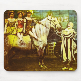 Jack the Clown and the Three Queens Vintage Circus Mouse Mat