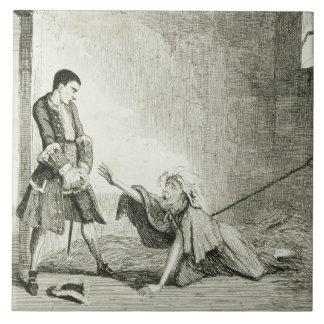 Jack visits his mother in Bethlehem Hospital, Lond Large Square Tile