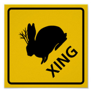Jackalope Crossing Highway Sign Poster