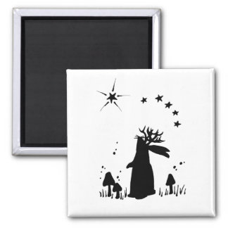 Jackalope Night - B&W Magnet