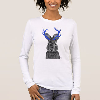 Jackalope with Blue Antlers Long Sleeve T-Shirt