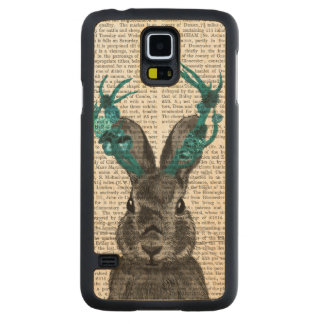 Jackalope with Turquoise Antlers Carved Maple Galaxy S5 Case