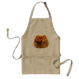 """Jacket potato and beans"" design cooking aprons"