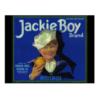 Jackie Boy Holding an Apple Post Card